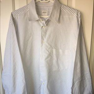 Armani Men's stripped Dress Shirt Size 17 Long